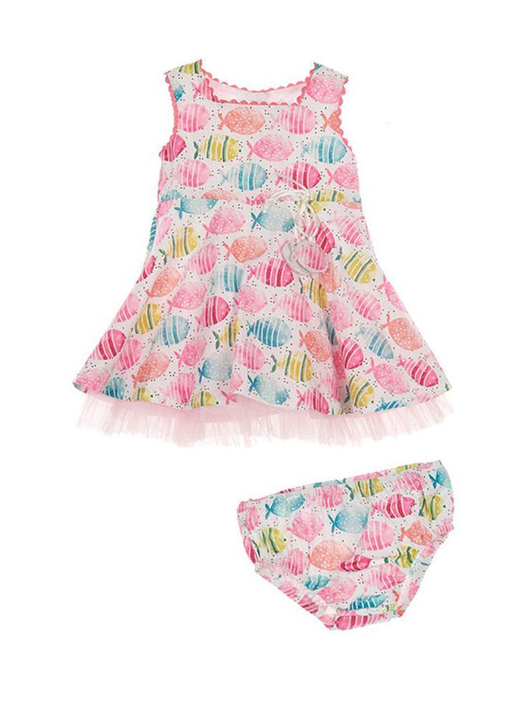 βρεφικό φόρεμα marasil 22010103 φλοραλ με βρακάκι