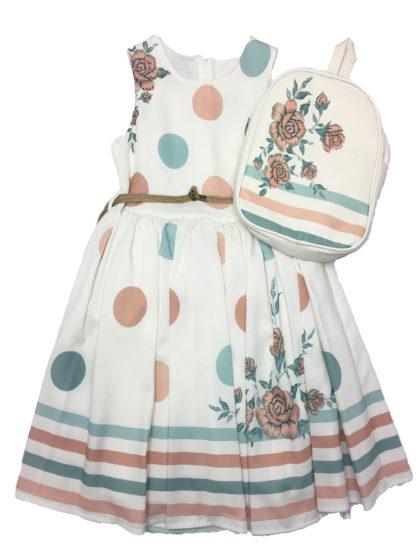 παιδικο φόρεμα για καλό ντύσιμο με τσαντάκι πλάτης σε πουά φλοραλ μοτίβο