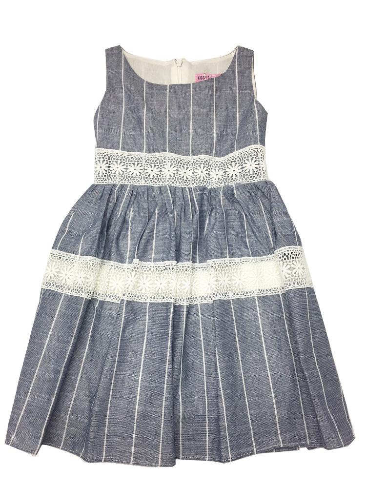 παιδικό φόρεμα λινο για καλο ντύσιμο με κιπούρ λεπτομέρειες