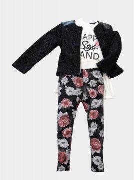 Παιδικό Σετ κορίτσι με κολλάν μπλούζα και μπουφάν μεσάτο