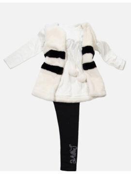 Παιδικό Σετ για κορίτσι με κολλάν μπλούζα και γιλέκο γούνινο