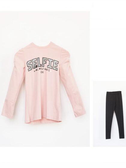 Παιδικό Σετ κορίτσι με κολλάν και μπλούζα, μοντέρνο εφηβικό ντύσιμο happy earth