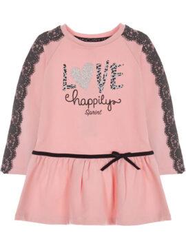 Παιδικό φούτερ φόρεμα σε ροζ χρώμα με ανθρακί λεπτομέρειες