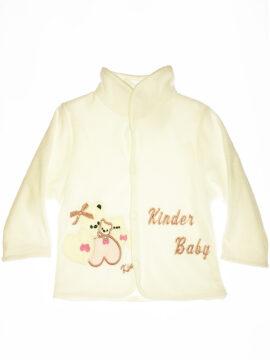 Βρεφικό ζακετάκι βελουτέ για κορίτσι σε λευκό χρώμα kinter 3002