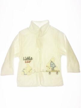 Βρεφικό ζακετάκι βελουτέ για αγόρι σε λευκό χρώμα kinter 3000