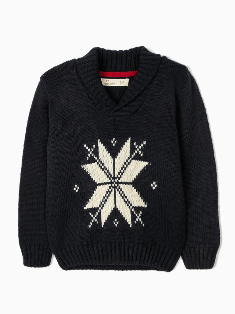 Zippy παιδικο πλεκτό πουλόβερ σε μπλε χρωματισμούς zb0201