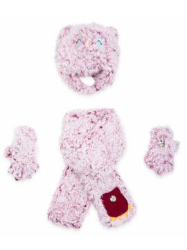 Παιδικό σετ σκούφος κασκόλ γάντια για κορίτσι, μαλακό γούνινο σετ από προβατάκι με βαμβακερή εσωτερική επένδυση.