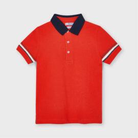 Mayoral μπλούζα πόλο για αγόρι 21-03103-048 σε κόκκινο μοτίβο