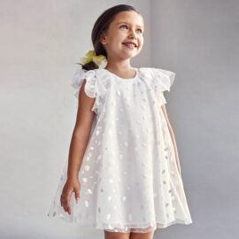 Mayoral παιδικό φόρεμα λευκό πουά 21-03912-073
