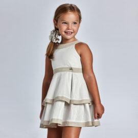 Mayoral παιδικό φόρεμα λινό 21-03925-010 μπέζ λευκό