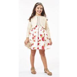 Εβίτα εφηβικό φόρεμα 202006 με φλοράλ μοτίβο και ζακέτα